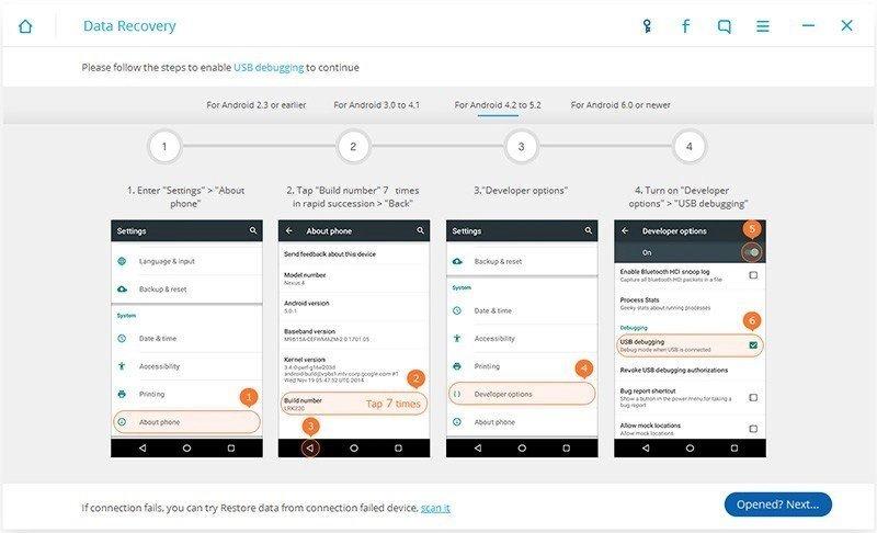 Android Dati Recupero Passo 1